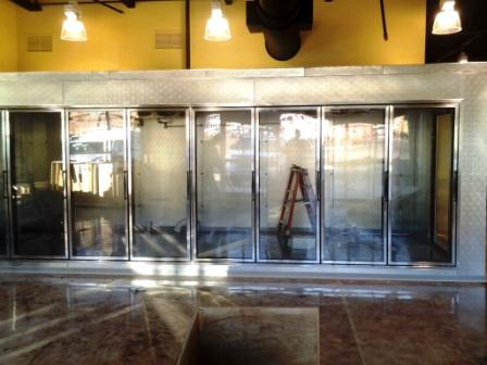 Walk-in beer/wine cooler sold and installed by Greensboro Refrigeration for  the second location of Triangle Wine in Southern Pines, NC.